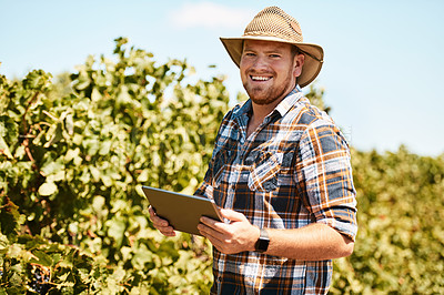 Buy stock photo Portrait of a farmer using a digital tablet working in a vineyard