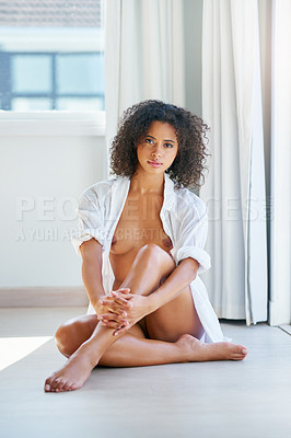 Buy stock photo Shot of a beautiful young woman at home
