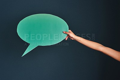 Buy stock photo Cropped shot of an unrecognizable woman holding a speech bubble