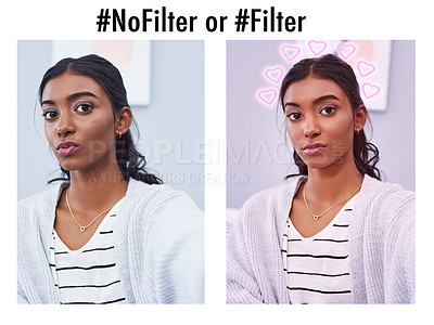 Buy stock photo Composite image of an attractive young woman taking a selfie with one side having a filter and the other side having no filter