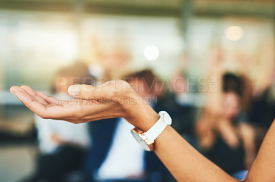 Buy stock photo Cropped shot of an unrecognizable businesswoman addressing her colleagues during a seminar