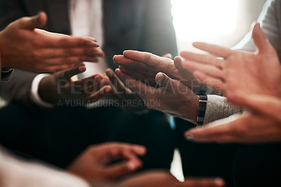 Buy stock photo Cropped shot of an unrecognizable group of businesspeople's hands