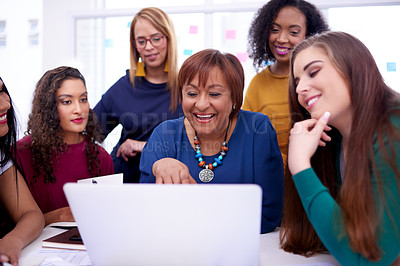 Buy stock photo Shot of a group of businesswomen using a laptop together in a modern office