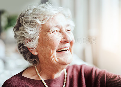 Buy stock photo Shot of happy senior woman living in a retirement home