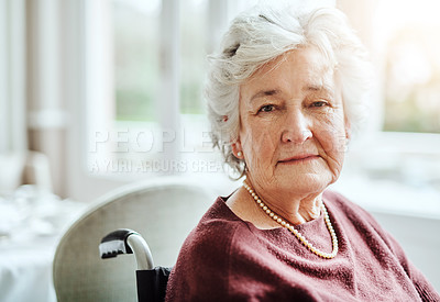 Buy stock photo Portrait of senior woman sitting in a wheelchair at a retirement home