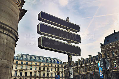 Buy stock photo Cropped shot of blank directional road signs in France