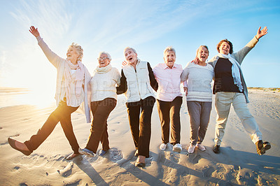 Buy stock photo Portrait of a group of happy senior women going for a walk along the beach