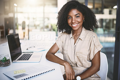 Buy stock photo Portrait of a young businesswoman working in a modern office