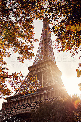Buy stock photo Low angle shot of the Eiffel Tower in Paris, France