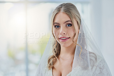 Buy stock photo Portrait of a beautiful young bride on her wedding day