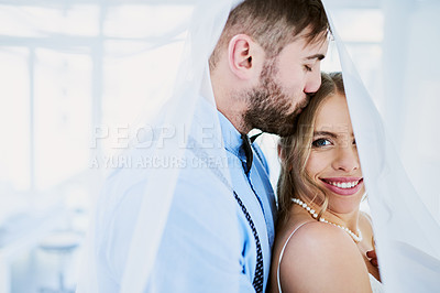 Buy stock photo Portrait of a happy young couple on their wedding day
