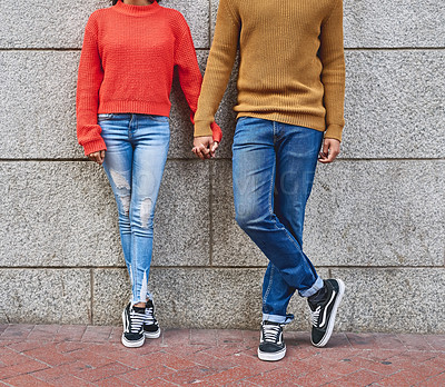 Buy stock photo Cropped shot of an unrecognizable couple standing outside
