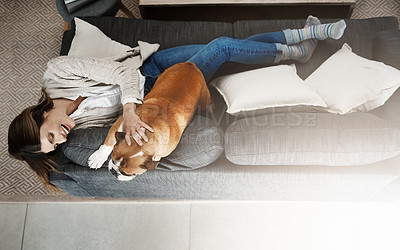 Buy stock photo Shot of an attractive young woman sitting on her sofa at home playing with her dog