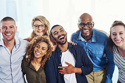 Buy stock photo Portrait of a group of people standing together