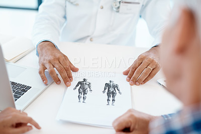 Buy stock photo Cropped shot of an unrecognizable male doctor consulting with a couple in his office