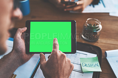 Buy stock photo Cropped shot of a businessman using a digital tablet with a green screen during a meeting at work