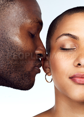 Buy stock photo Studio shot of a couple posing with their eyes closed against a grey background