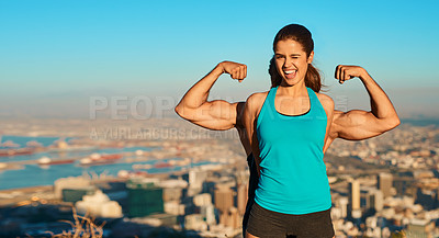 Buy stock photo Cropped portrait of a young woman standing in front of her boyfriend who's flexing his muscles