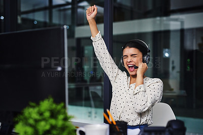 Buy stock photo Cropped shot of an attractive young woman working in a call center