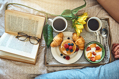 Buy stock photo High angle shot of a healthy breakfast on a serving tray