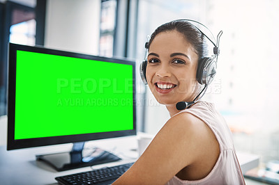 Buy stock photo Cropped portrait of an attractive young woman using a computer with chromakey in a call center