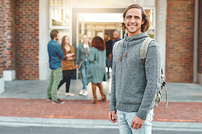 Buy stock photo Portrait of a happy young man standing outdoors on campus