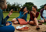 Friends, the park and a slice of happiness