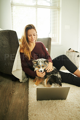 Buy stock photo Shot of a young woman using a laptop while relaxing while relaxing at home with her dog