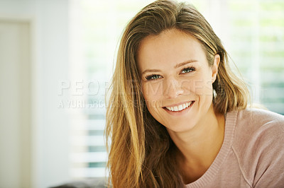 Buy stock photo Portrait of a happy young woman relaxing at home