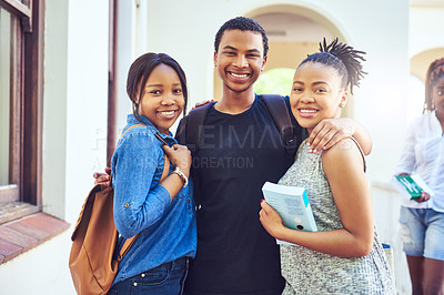 Buy stock photo Cropped portrait of three young university students on campus