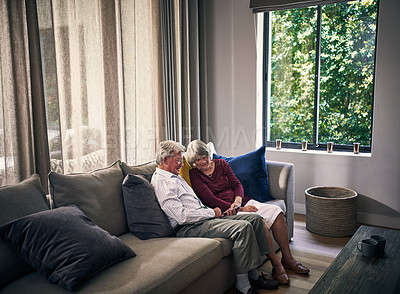 Buy stock photo Full length shot of an affectionate senior couple in their retirement home