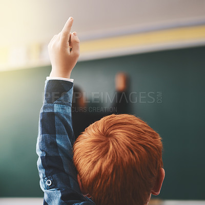 Buy stock photo Cropped shot of elementary school children raising their hands to ask questions in the class