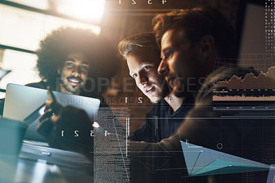 Buy stock photo Shot of a group of young businessmen working together in their office