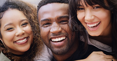 Buy stock photo Portrait of a group of friends posing together while relaxing outdoors