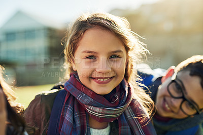 Buy stock photo Portrait of an elementary school girl standing outside with her friends