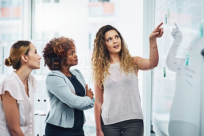 Buy stock photo Shot of a group of businesswomen brainstorming notes on a whiteboard in an office