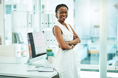 Buy stock photo Portrait of a young businesswoman standing in an office