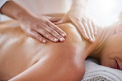 Buy stock photo Closeup shot of a woman getting a back massage at a spa