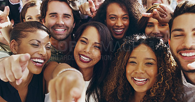 Buy stock photo Cropped shot of a group of happy businesspeople pointing at you while standing in their workplace lobby