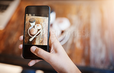Buy stock photo Cropped shot of an unrecognizable young woman taking a picture of her copenhagen