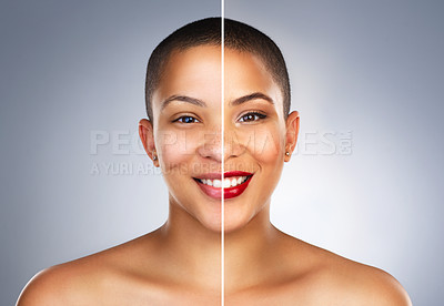 Buy stock photo Composite shot of a beautiful young woman before and after she had makeup applied to her face