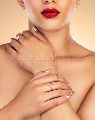Buy stock photo Cropped shot of an unrecognizable woman wearing red lipstick