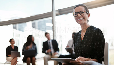 Buy stock photo Cropped shot of a businesswoman sitting in a meeting