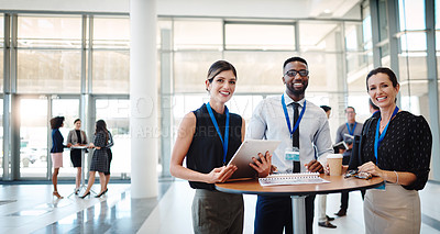Buy stock photo Portrait of a group of businesspeople having a meeting at a conference