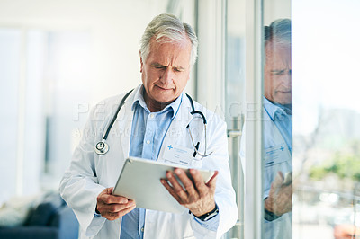 Buy stock photo Cropped shot of a confident elderly doctor browsing on a digital tablet while standing inside of his office