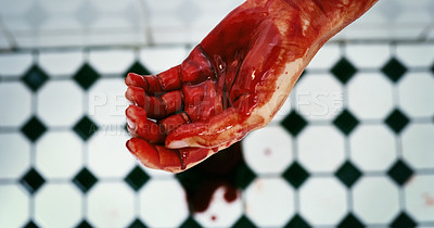 Buy stock photo Cropped shot of an unrecognizable hand dripping blood on a crime scene