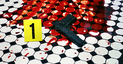 Buy stock photo Cropped shot of a gun lying in a pool of blood on a bathroom floor on a crime scene