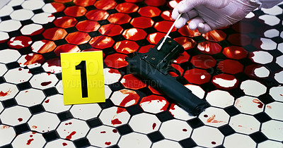 Buy stock photo Cropped shot of an unrecognizable official inspecting a  gun on a crime scene