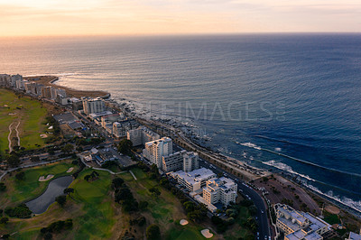 Buy stock photo Aerial shot of the urban coastline of Cape Town