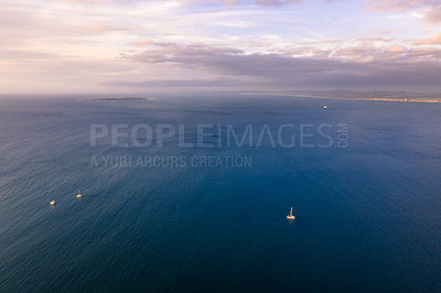 Buy stock photo Aerial shot of the ocean